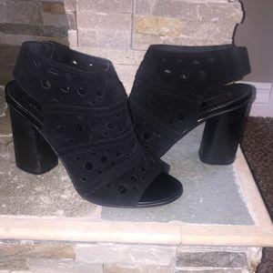 Black, slip on, peep toed heels